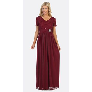 Burgundy Short Sleeves Long Formal Dress Empire Waist