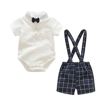 Tem Doger Baby Boy Clothing Sets 2018 Summer Newborn Infant Boy Clothes White Tie Tops+Plaid Overalls 2PCS Bebes Outfits Sets