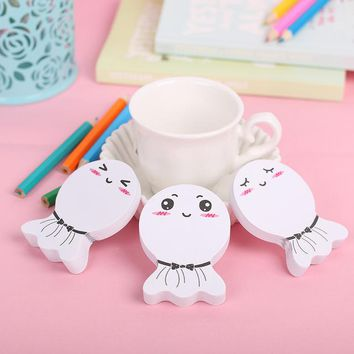 3PCS Kawaii Smile Face Paper Sticker Memo Pad  Stationery Mini Office Xpress Can Tear Sticky Notes