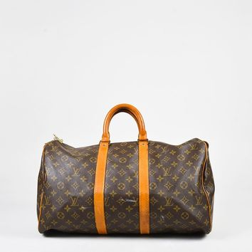 """VINTAGE Louis Vuitton Brown Monogram Coated Canvas Leather """"Keepall 45"""" Bag"""
