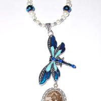 Wedding Bouquet Memorial Photo Charm Dragonfly Blue Crystals Pearls Tibetan Beads - FREE SHIPPING