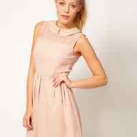 Glamorous Embellished Collar Skater Dress at asos.com