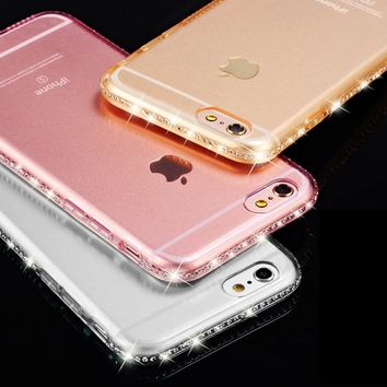 Bling Case for iphone 6S 6 Plus iphone 7 plus 5 5s SE Rhinestone Transparent Silicone Clear Cover for iphone 8 Plus Case 7Plus