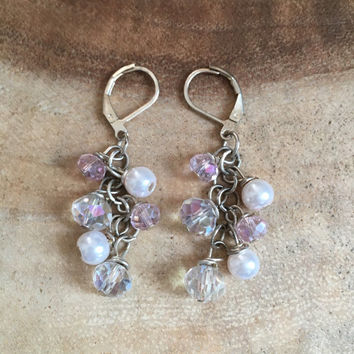 Light Pink Earrings, Crystal Earrings, Womens Earrings, Formal Earrings, Bridesmaid Earrings, Cluster Earrings