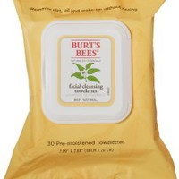 Burt's Bees Facial Cleansing Towelettes with White Tea Extract, 30 Count (Pack of 2)