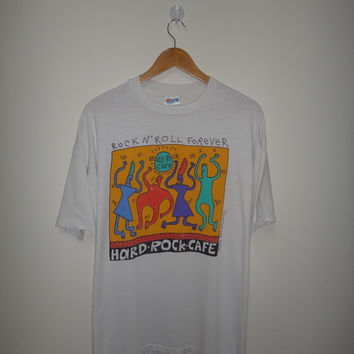 New Year Sale Vintage HARD ROCK Cafe Keith Haring Rock & Roll Forever 1992 T Shirt Neon Pop Art Design Rare