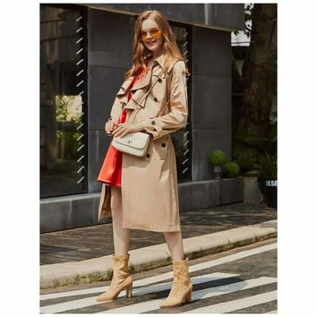 Women, Turtleneck Duster Coat