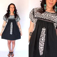 Embroidered Oaxacan Black & White Mini Dress Mexican Short Sleeve Hippie Sundress