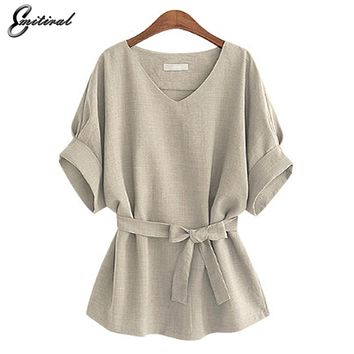 Women Shirts Linen Tunic Shirt V Neck Big Bow Batwing Tie Loose Blouse Top