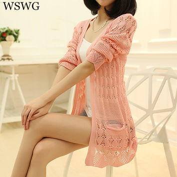 2017 Spring Summer Autumn Female New Women's V-Neck Pockets Thin Cashmere Sweater Pure Hollow Out Cardigan Sweater Coat 60815