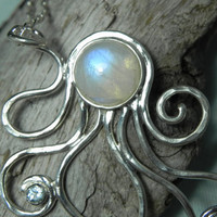NECKLACE  Octopus Rainbow Moonstone Sterling by FantaSeaJewelry