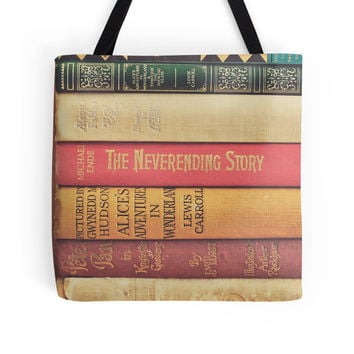 Books Tote Bag, Vintage Books, Photo Bag, Peter Pan, Alice in Wonderland, Neverending Story, Library, Market, Modern, Red, Yellow, Green