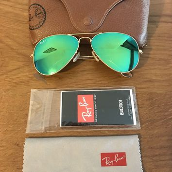 RAY BAN AVIATOR MIRRORED SUNGLASSES GREEN WITH GOLD FRAME SIZE LARGE