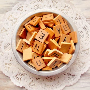 Vintage Scrabble Game Pieces  / 25 Pieces / Junk Journal / Smash Book