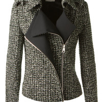 BOUCHRA JARRAR GREEN TWEED WOOL PERFECTO WOVEN WITH GREY, BEIGE AND SILVER THREADS