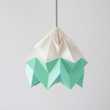 Moth origami lampshade Ice Mint green and white