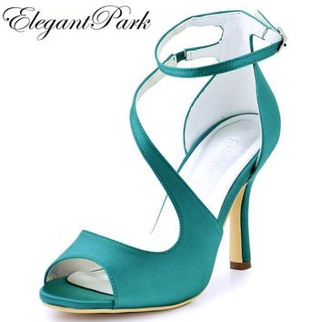 Woman High Heel Ankle Strap Sandals Teal Purple Peep Toe Bridesmaid Satin Prom Strappy Pumps Bride Wedding Bridal Shoes HP1565