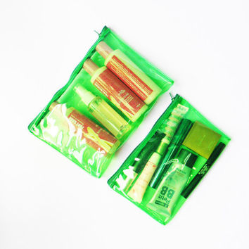 Green Clear See Through Plastic PVC Vinyl Transparent Zipper Pouch Purse,Pencil Case,Travel Toiletry Bag,Cosmetic Bag,Makeup Bag,Vanity Bag