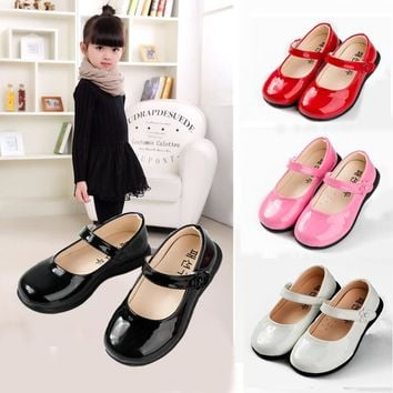 Red Children Flowers Girls Kids Patent Leather Princess Shoes For Girls Kids Baby Party Wedding Dance Single Shoes New 2018 22