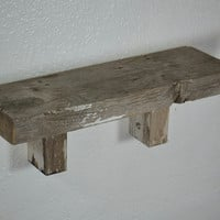 "Shabby chic wall shelf from reclaimed wood 16"" wide by 5"" deep"