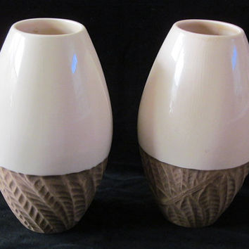 New England Pottery Vases Vase Matching Pair Made in Portugal