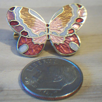 Vintage Cloisonne Butterfly Pin Gold Copper Brooch Retro Costume Jewelry Nature