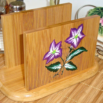 Hand Painted Wooden Napkin Holder With Purple Flowers