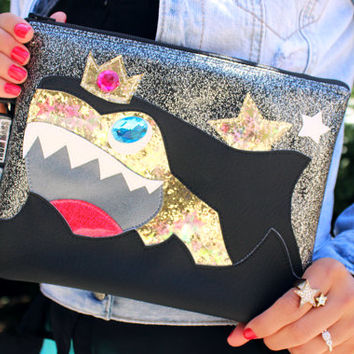 SharkKing Mad Clutch Bag With Wristlet | Purse | Geek Chic | Shark Bag