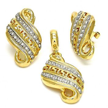 Gold Layered 10.59.0228 Earring and Pendant Adult Set, Greek Key Design, with White Crystal, Polished Finish, Two Tone
