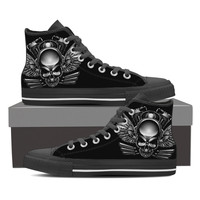 Chrome V-twin Skull Men's High Top Canvas Shoes