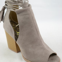 Taupe Peep Toe Shoes