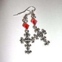 Cross Earrings, Red Bicone Bead, Gothic Style Dangles, Antique Silver, Fall Trends, Christmas Trends, Fleur de Lis