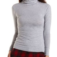 Long Sleeve Cotton Turtleneck Top by Charlotte Russe