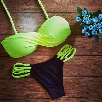 Fluorescent Yellow Bikini Set Beach Swimsuit Gift 109