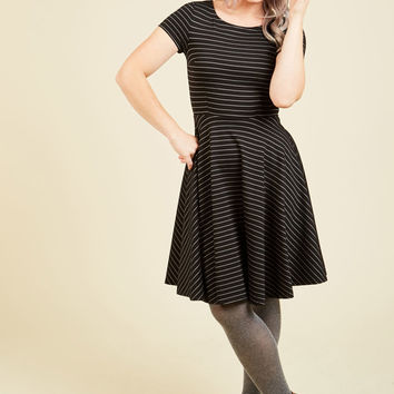 Playlist Professional A-Line Dress in Striped Black | Mod Retro Vintage Dresses | ModCloth.com