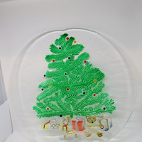 Hand Painted Christmas Clear Glass Serving Platter - Christmas Tree and Gifts