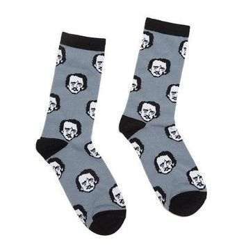 Edgar Allan Poe-ka Dots Out Of Print Licensed Adult Unisex Crew Socks - Gray/Blk