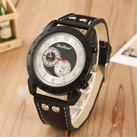 Boys Black Leather Strap Watch Mens Sports Casual Style Watches +  Beautiful Gift Box