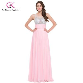 Women Pretty Long Evening Dresses 2017 Grace Karin Pink Blue Green Chiffon Sexy See Though Formal Gowns Special Occasion Dress