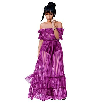 Off-the-Shoulder Mesh Frill Night Club Transparent Dress
