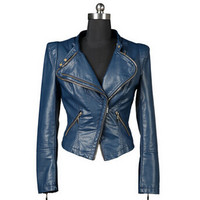 Vegan Leather Jacket Women Short Motorcycle Biker -Blue