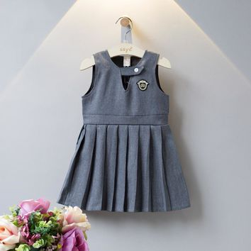 Fashion Vest dress for Girl 2018 Cute Preppy Style Dress Gray Sleeveless Overalls Princess Dress Kids Uniform Clothes for School