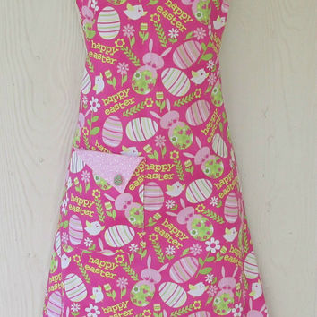 Pink Easter Apron / Easter Eggs, Bunnies, Chicks / Cute Vintage Style / Retro Full Apron
