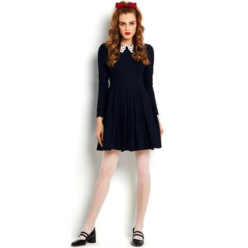 Sisjuly 50s 60s vintage dresses autumn mini dress long sleeve white hollow out lace peter pan collar women blue pleated dress