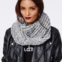 Missguided - Felicity Contrast Knit Scarf Grey