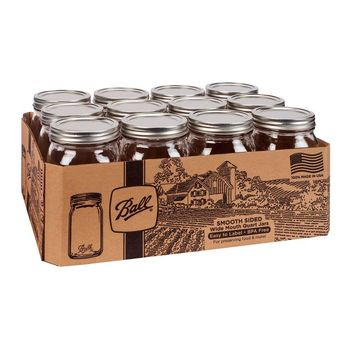 Ball® 1440067500 Smooth-Sided Wide Mouth Mason Jar w/Lid & Band, 1-Qt, 12-Pack