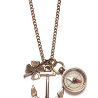 """Journey"" Anchor and Compass Necklace for Men"