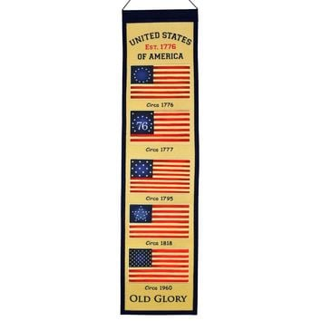 "American Flag ""Old Glory"" Embroidered Wool Heritage 32"" Banner Pennant"