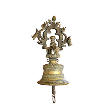 Bronze Temple Bell, Antique Asian, Dragons and Demons, Historic Religious Artifact, Hanging Buddhist Bell, Vintage Garden Decor