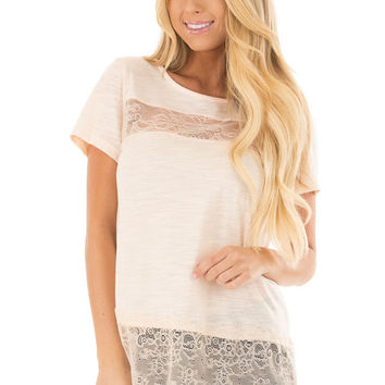 Blush Short Sleeve Top with Sheer Lace Details